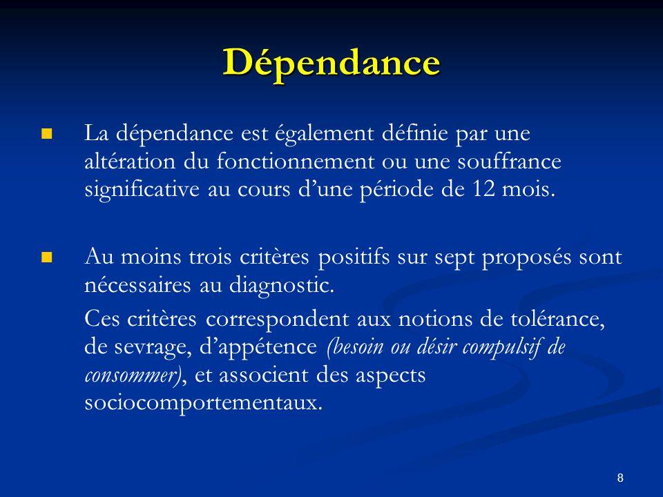 8 Dépendance La dépendance est également définie par une altération du fonctionnement ou une souffrance significative au cours dune période de 12 mois.