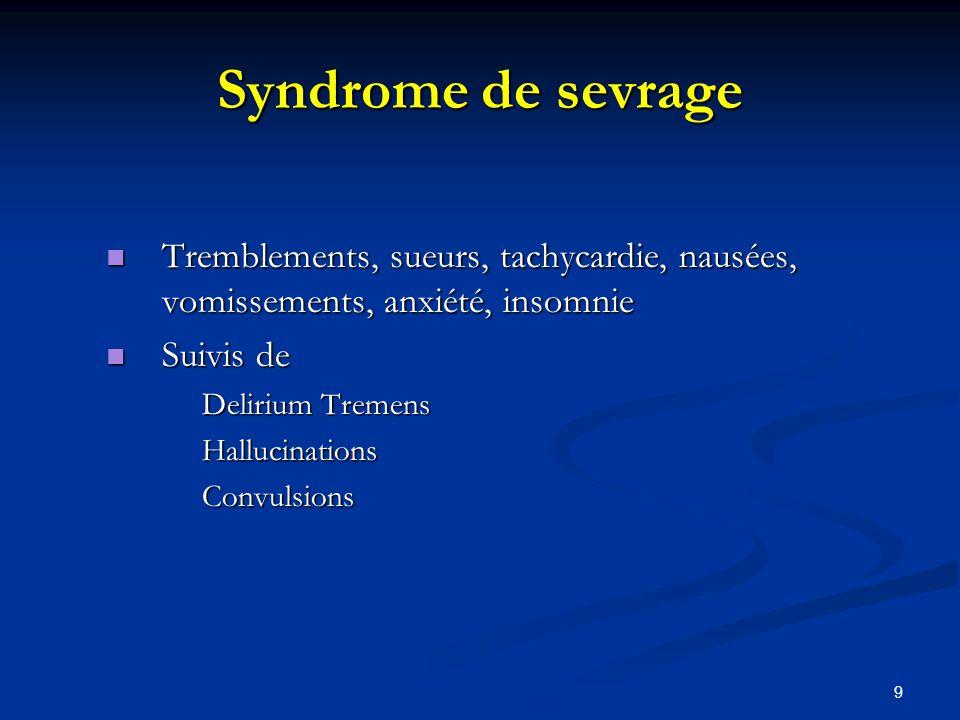 9 Syndrome de sevrage Tremblements, sueurs, tachycardie, nausées, vomissements, anxiété, insomnie Tremblements, sueurs, tachycardie, nausées, vomissements, anxiété, insomnie Suivis de Suivis de Delirium Tremens HallucinationsConvulsions
