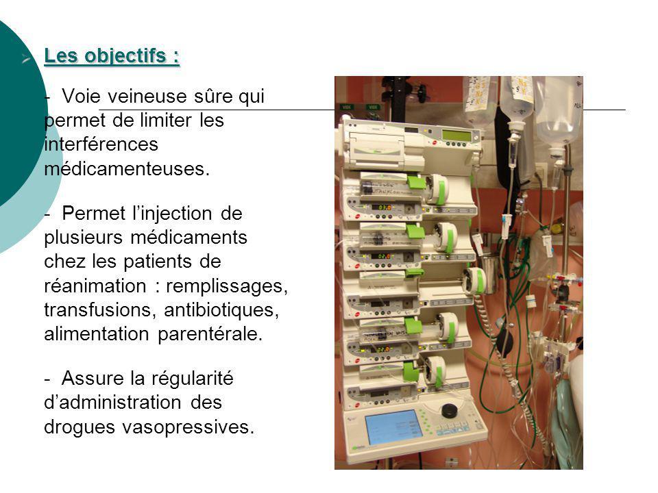 Les objectifs : Les objectifs : - Voie veineuse sûre qui permet de limiter les interférences médicamenteuses. - Permet linjection de plusieurs médicam
