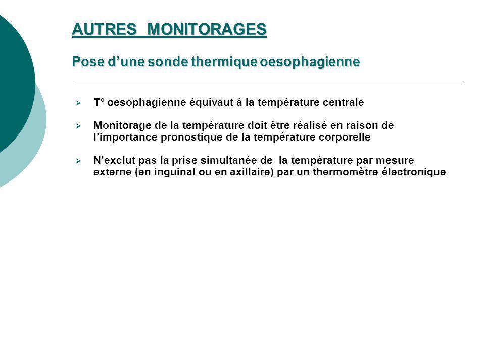 AUTRES MONITORAGES Pose dune sonde thermique oesophagienne T° oesophagienne équivaut à la température centrale Monitorage de la température doit être