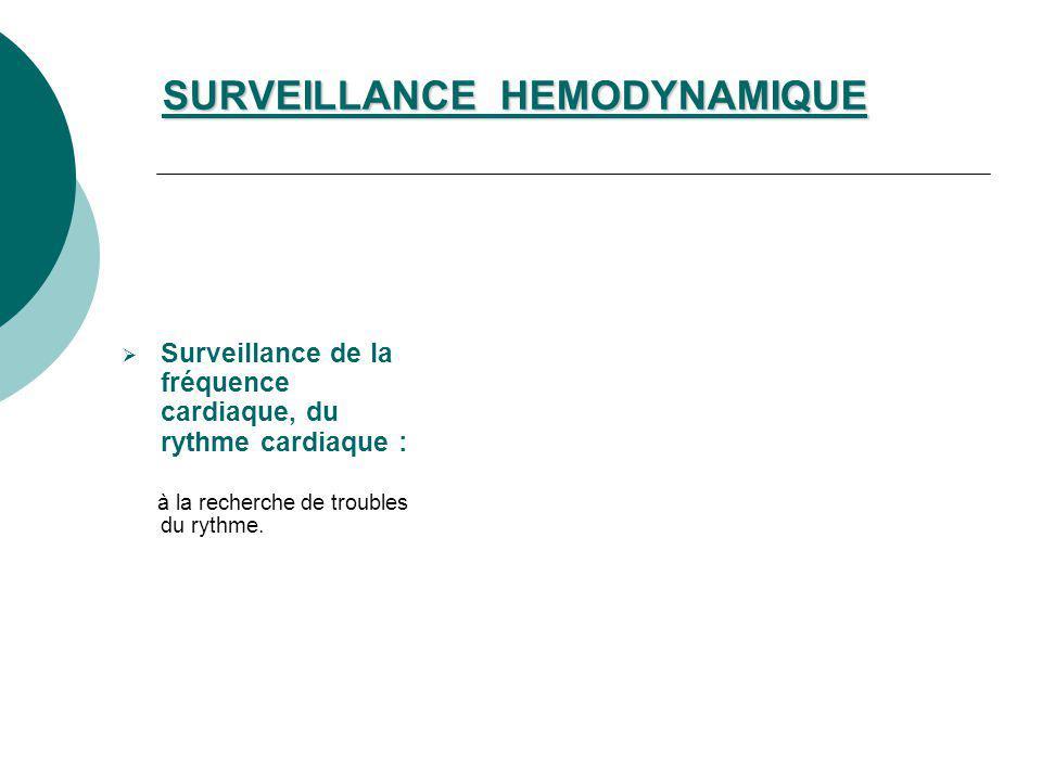 SURVEILLANCE HEMODYNAMIQUE Surveillance de la fréquence cardiaque, du rythme cardiaque : à la recherche de troubles du rythme.