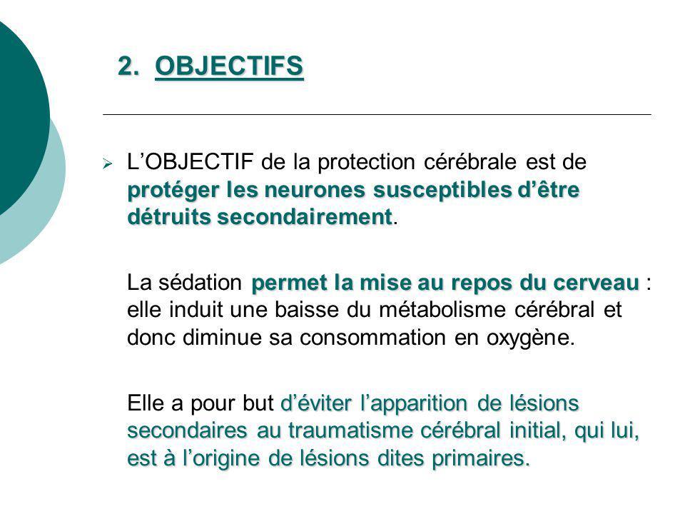 2. OBJECTIFS protéger les neurones susceptibles dêtre détruits secondairement LOBJECTIF de la protection cérébrale est de protéger les neurones suscep