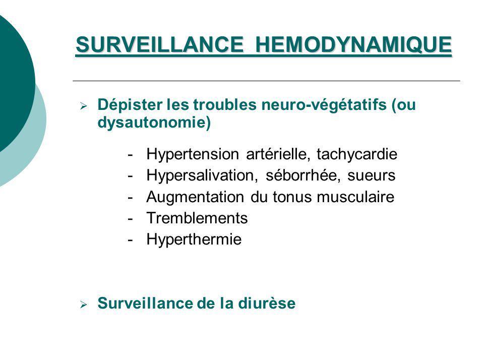 Dépister les troubles neuro-végétatifs (ou dysautonomie) - Hypertension artérielle, tachycardie - Hypersalivation, séborrhée, sueurs - Augmentation du