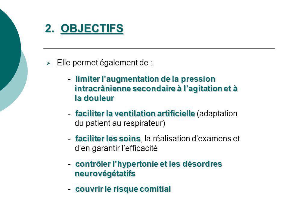 Elle permet également de : limiter laugmentation de la pression - limiter laugmentation de la pression intracrânienne secondaire à lagitation et à int
