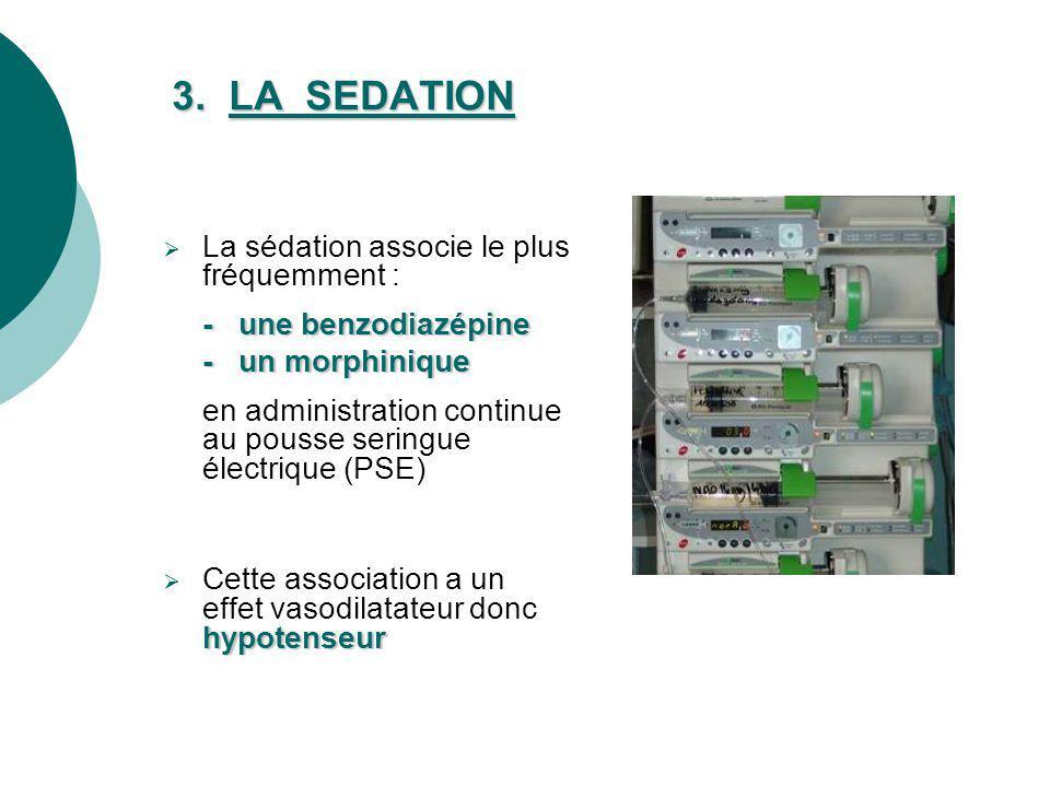 3. LA SEDATION La sédation associe le plus fréquemment : - une benzodiazépine - un morphinique en administration continue au pousse seringue électriqu