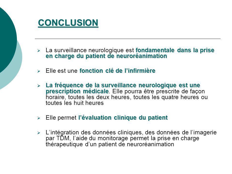 CONCLUSION fondamentale dans la prise en charge du patient de neuroréanimation La surveillance neurologique est fondamentale dans la prise en charge d