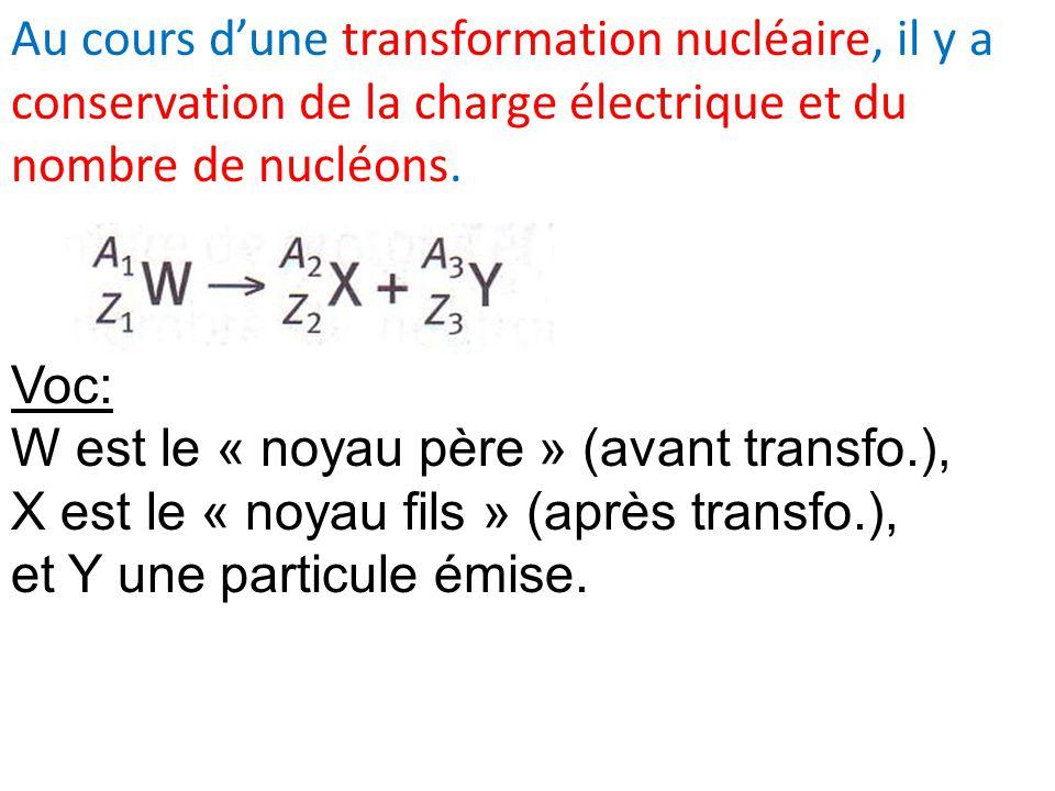 Au cours dune transformation nucléaire, il y a conservation de la charge électrique et du nombre de nucléons.