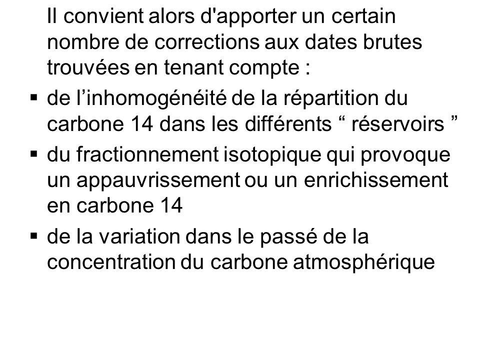 Il convient alors d apporter un certain nombre de corrections aux dates brutes trouvées en tenant compte : de linhomogénéité de la répartition du carbone 14 dans les différents réservoirs du fractionnement isotopique qui provoque un appauvrissement ou un enrichissement en carbone 14 de la variation dans le passé de la concentration du carbone atmosphérique