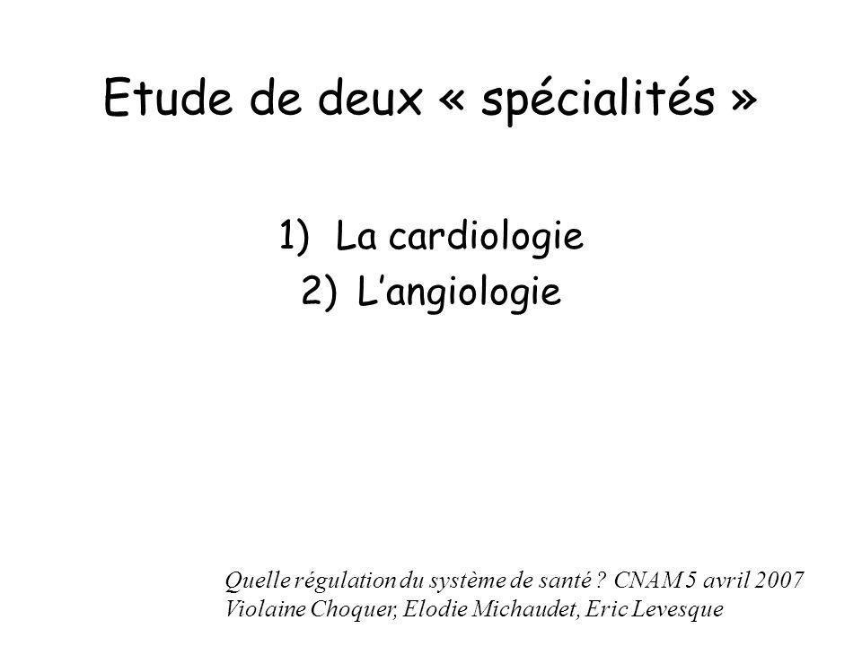 Etude de deux « spécialités » 1)La cardiologie 2)Langiologie Quelle régulation du système de santé ? CNAM 5 avril 2007 Violaine Choquer, Elodie Michau