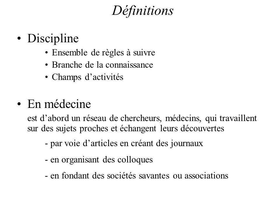 Discipline Ensemble de règles à suivre Branche de la connaissance Champs dactivités En médecine est dabord un réseau de chercheurs, médecins, qui travaillent sur des sujets proches et échangent leurs découvertes - par voie darticles en créant des journaux - en organisant des colloques - en fondant des sociétés savantes ou associations Définitions