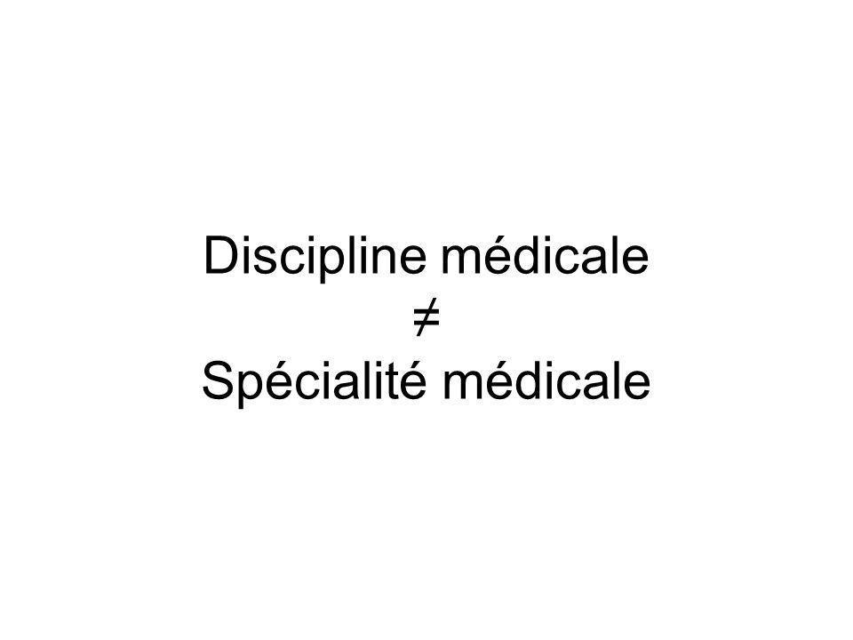 Discipline médicale Spécialité médicale