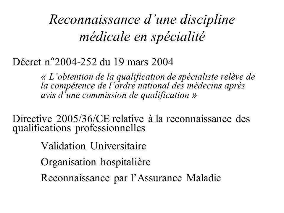Reconnaissance dune discipline médicale en spécialité Décret n°2004-252 du 19 mars 2004 « Lobtention de la qualification de spécialiste relève de la c