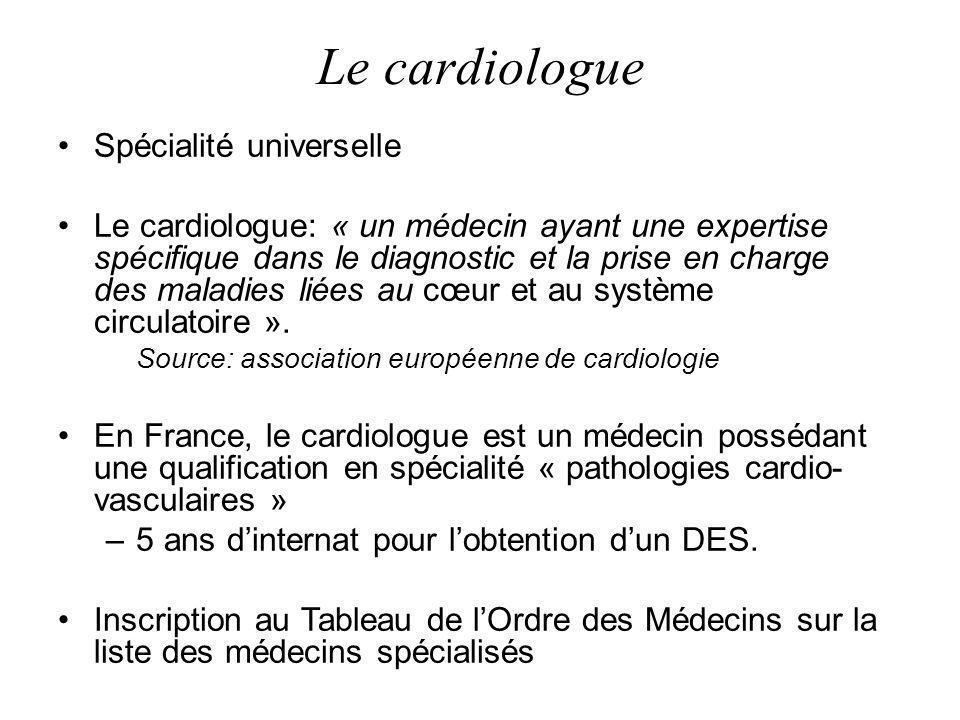 Le cardiologue Spécialité universelle Le cardiologue: « un médecin ayant une expertise spécifique dans le diagnostic et la prise en charge des maladie