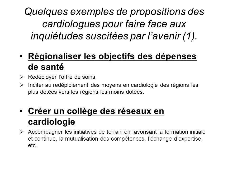Quelques exemples de propositions des cardiologues pour faire face aux inquiétudes suscitées par lavenir (1). Régionaliser les objectifs des dépenses