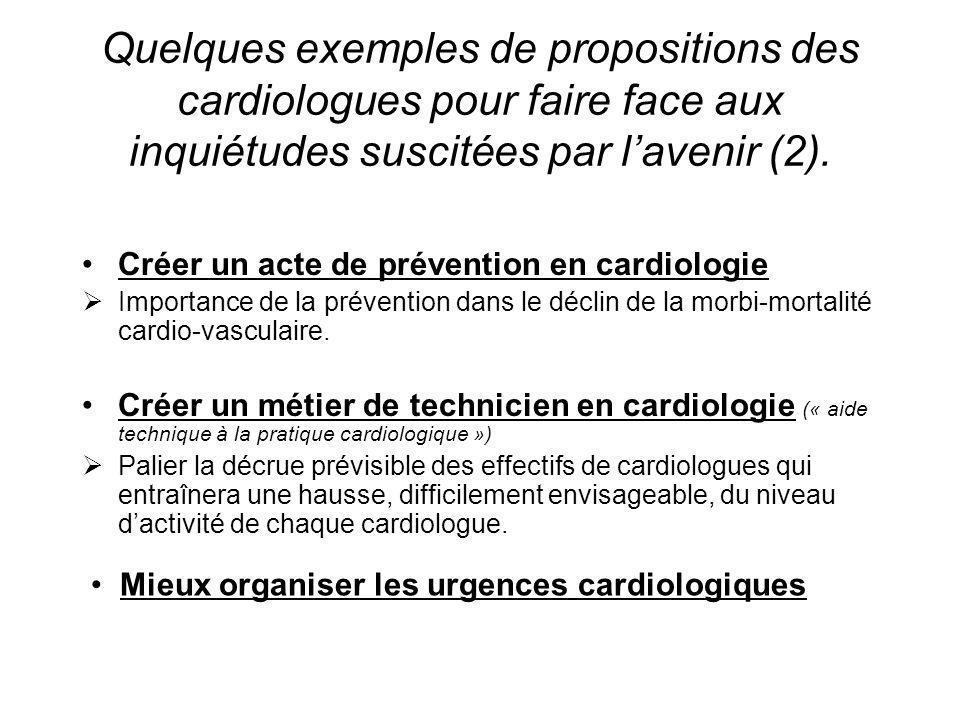 Quelques exemples de propositions des cardiologues pour faire face aux inquiétudes suscitées par lavenir (2). Créer un acte de prévention en cardiolog