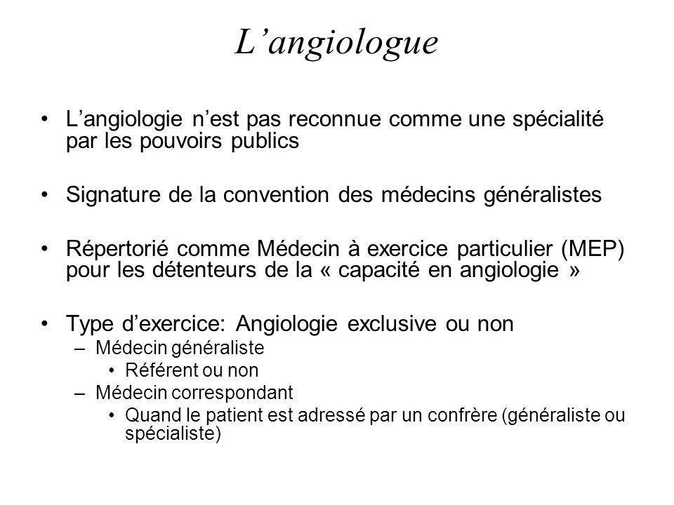 Langiologue Langiologie nest pas reconnue comme une spécialité par les pouvoirs publics Signature de la convention des médecins généralistes Répertori