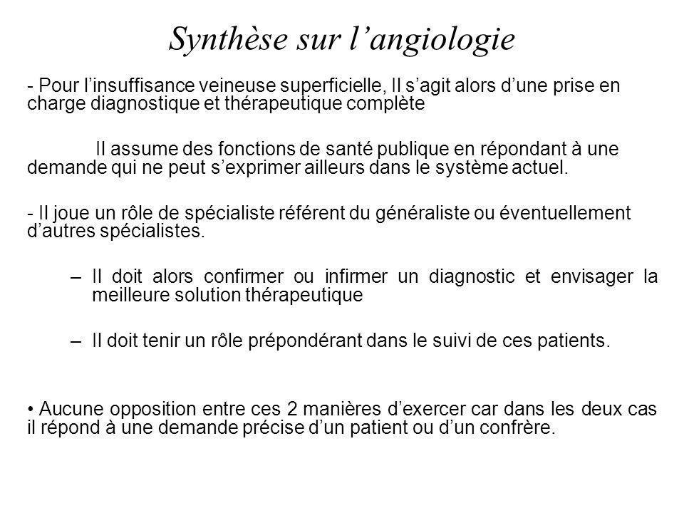 Synthèse sur langiologie - Pour linsuffisance veineuse superficielle, Il sagit alors dune prise en charge diagnostique et thérapeutique complète Il as