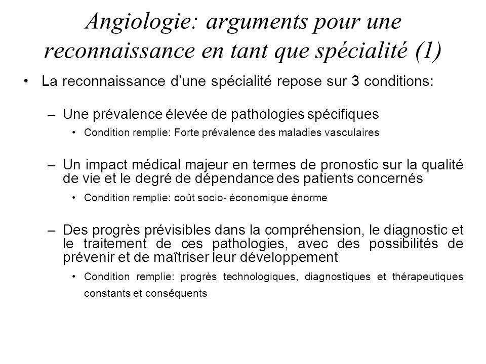 Angiologie: arguments pour une reconnaissance en tant que spécialité (1) La reconnaissance dune spécialité repose sur 3 conditions: –Une prévalence él