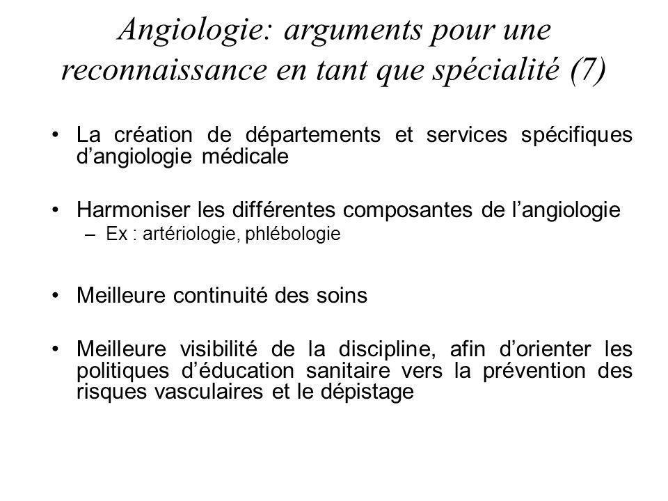 La création de départements et services spécifiques dangiologie médicale Harmoniser les différentes composantes de langiologie –Ex : artériologie, phl