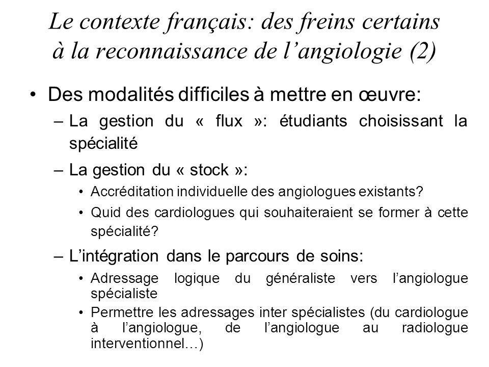 Des modalités difficiles à mettre en œuvre: –La gestion du « flux »: étudiants choisissant la spécialité –La gestion du « stock »: Accréditation individuelle des angiologues existants.