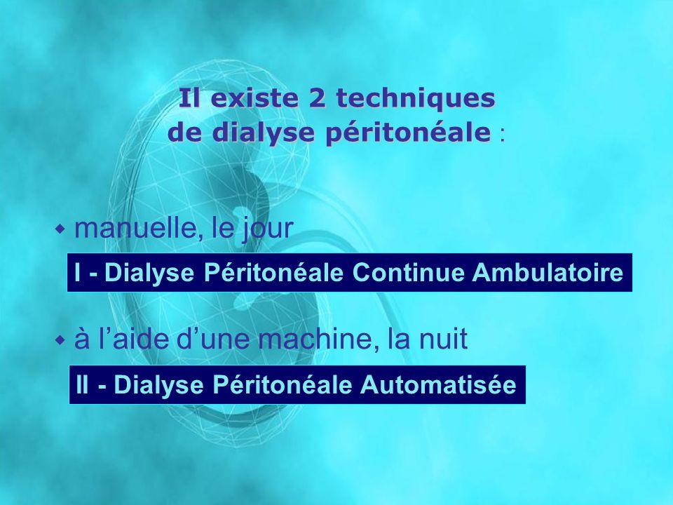 Il existe 2 techniques de dialyse péritonéale : à laide dune machine, la nuit manuelle, le jour I - Dialyse Péritonéale Continue Ambulatoire II - Dial