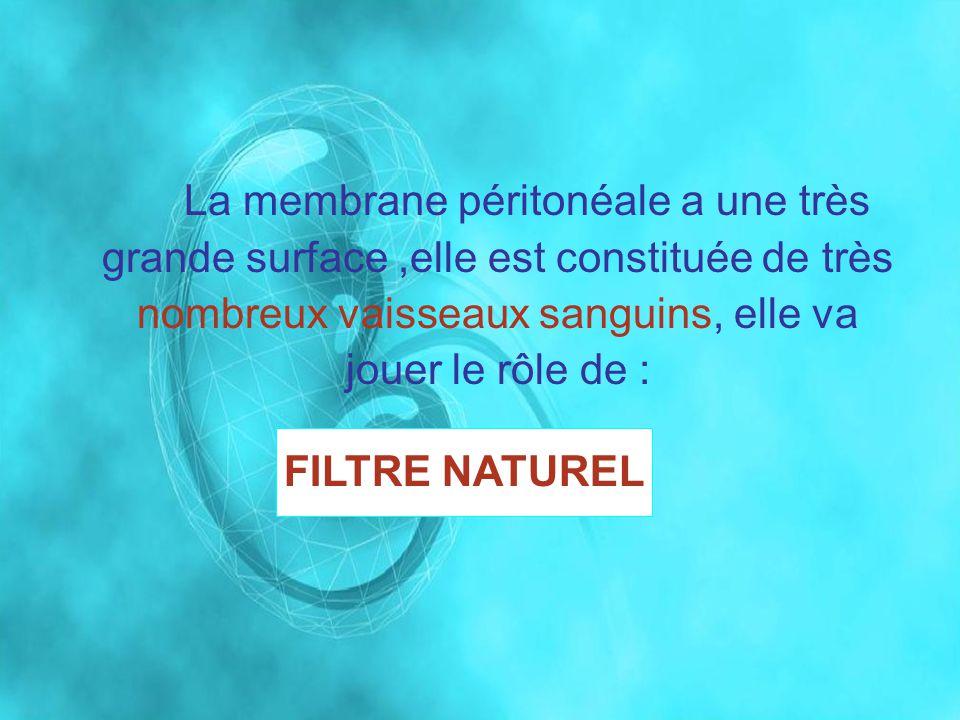 La membrane péritonéale a une très grande surface,elle est constituée de très nombreux vaisseaux sanguins, elle va jouer le rôle de : FILTRE NATUREL