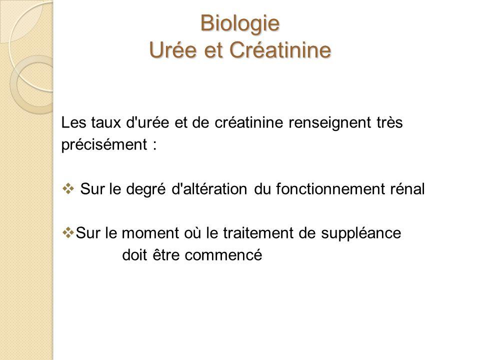 Biologie Urée et Créatinine Les taux d'urée et de créatinine renseignent très précisément : Sur le degré d'altération du fonctionnement rénal Sur le m
