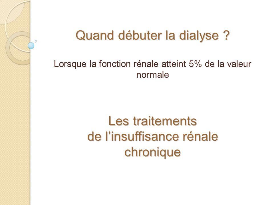 Quand débuter la dialyse ? Lorsque la fonction rénale atteint 5% de la valeur normale Les traitements de linsuffisance rénale chronique