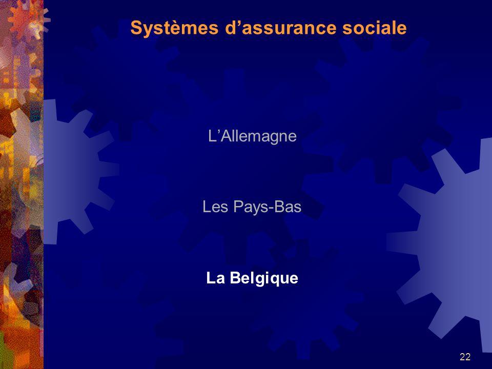 22 LAllemagne Les Pays-Bas La Belgique Systèmes dassurance sociale