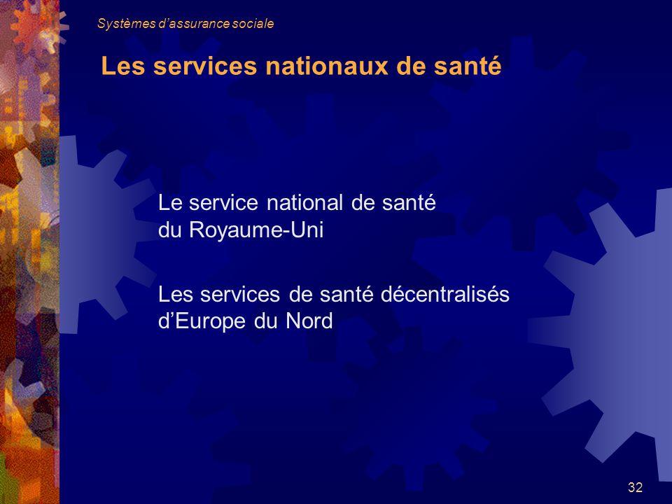 32 Le service national de santé du Royaume-Uni Les services de santé décentralisés dEurope du Nord Systèmes dassurance sociale Les services nationaux de santé