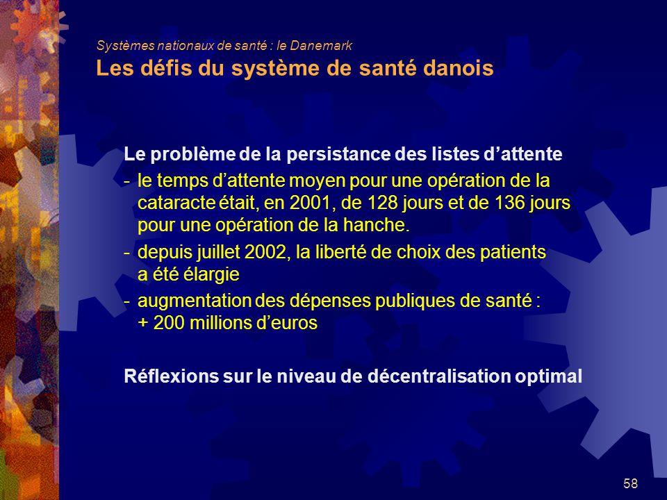 58 Le problème de la persistance des listes dattente -le temps dattente moyen pour une opération de la cataracte était, en 2001, de 128 jours et de 136 jours pour une opération de la hanche.