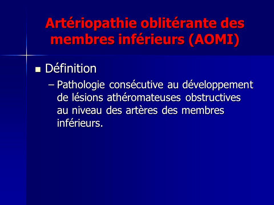 Artériopathie oblitérante des membres inférieurs (AOMI) Définition Définition –Pathologie consécutive au développement de lésions athéromateuses obstr