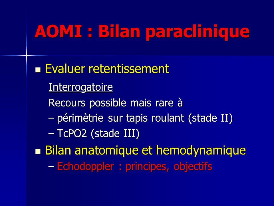 AOMI : Bilan paraclinique Evaluer retentissement Evaluer retentissement Interrogatoire Interrogatoire Recours possible mais rare à –périmètrie sur tap
