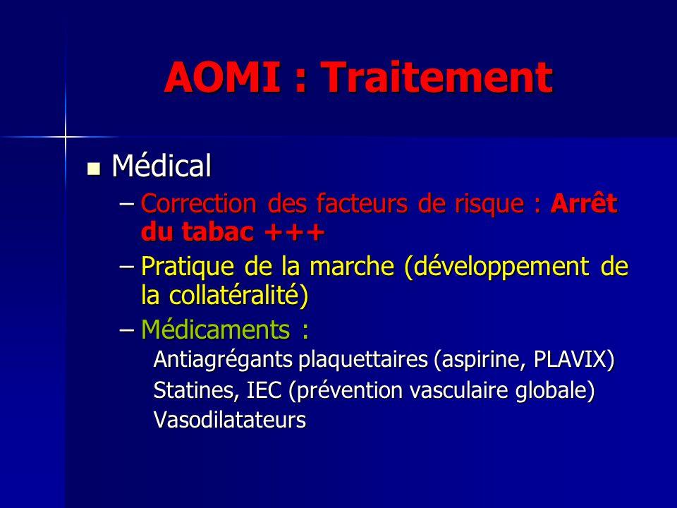 AOMI : Traitement Médical Médical –Correction des facteurs de risque : Arrêt du tabac +++ –Pratique de la marche (développement de la collatéralité) –