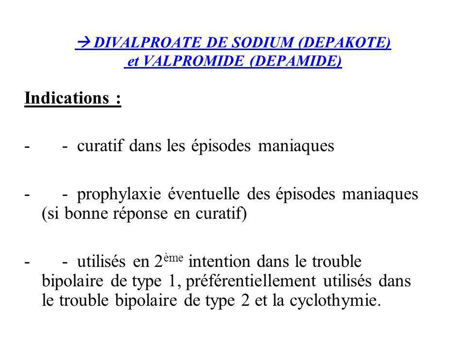 DIVALPROATE DE SODIUM (DEPAKOTE) et VALPROMIDE (DEPAMIDE) Indications : - - curatif dans les épisodes maniaques - - prophylaxie éventuelle des épisode