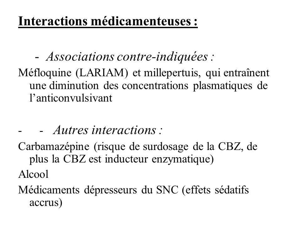 Interactions médicamenteuses : - Associations contre-indiquées : Méfloquine (LARIAM) et millepertuis, qui entraînent une diminution des concentrations