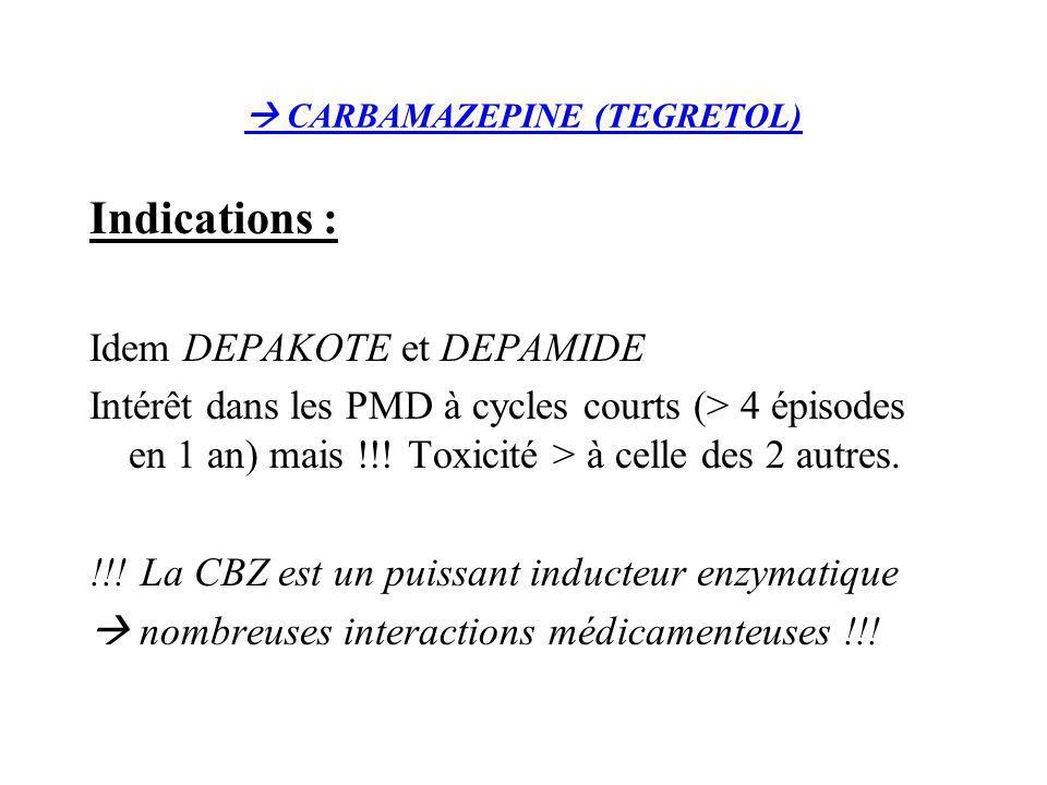 CARBAMAZEPINE (TEGRETOL) Indications : Idem DEPAKOTE et DEPAMIDE Intérêt dans les PMD à cycles courts (> 4 épisodes en 1 an) mais !!! Toxicité > à cel