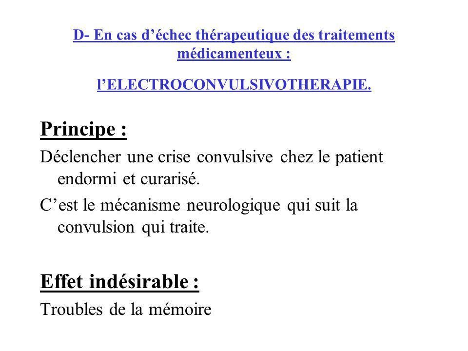 D- En cas déchec thérapeutique des traitements médicamenteux : lELECTROCONVULSIVOTHERAPIE. Principe : Déclencher une crise convulsive chez le patient