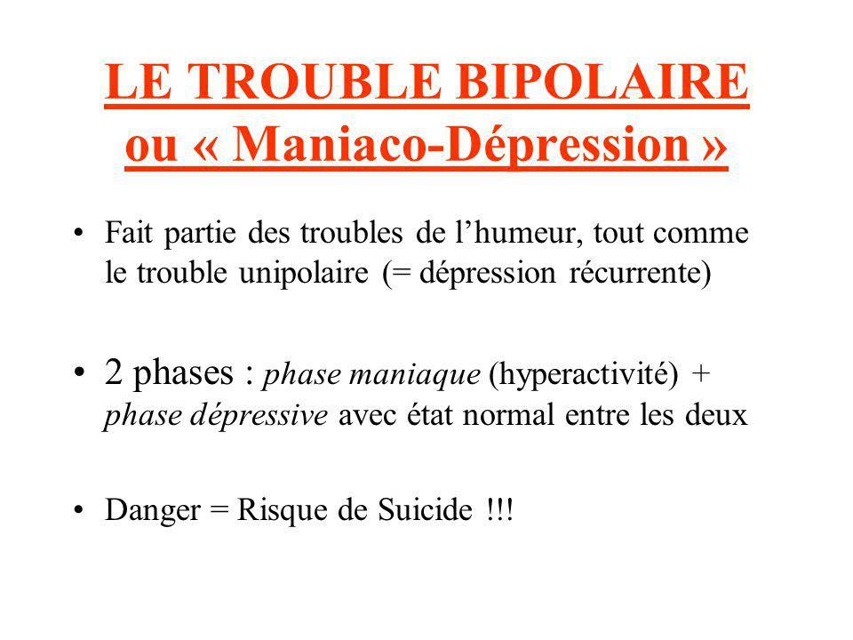 LE TROUBLE BIPOLAIRE ou « Maniaco-Dépression » Fait partie des troubles de lhumeur, tout comme le trouble unipolaire (= dépression récurrente) 2 phase
