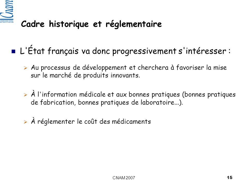 CNAM 2007 15 Cadre historique et réglementaire L État français va donc progressivement s intéresser : Au processus de développement et cherchera à favoriser la mise sur le marché de produits innovants.