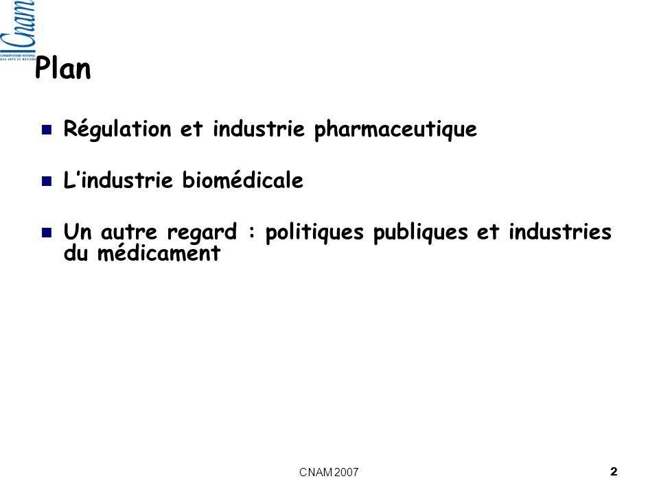 CNAM 2007 2 Plan Régulation et industrie pharmaceutique Lindustrie biomédicale Un autre regard : politiques publiques et industries du médicament