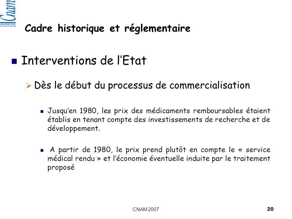 CNAM 2007 20 Cadre historique et réglementaire Interventions de lEtat Dès le début du processus de commercialisation Jusquen 1980, les prix des médicaments remboursables étaient établis en tenant compte des investissements de recherche et de développement.