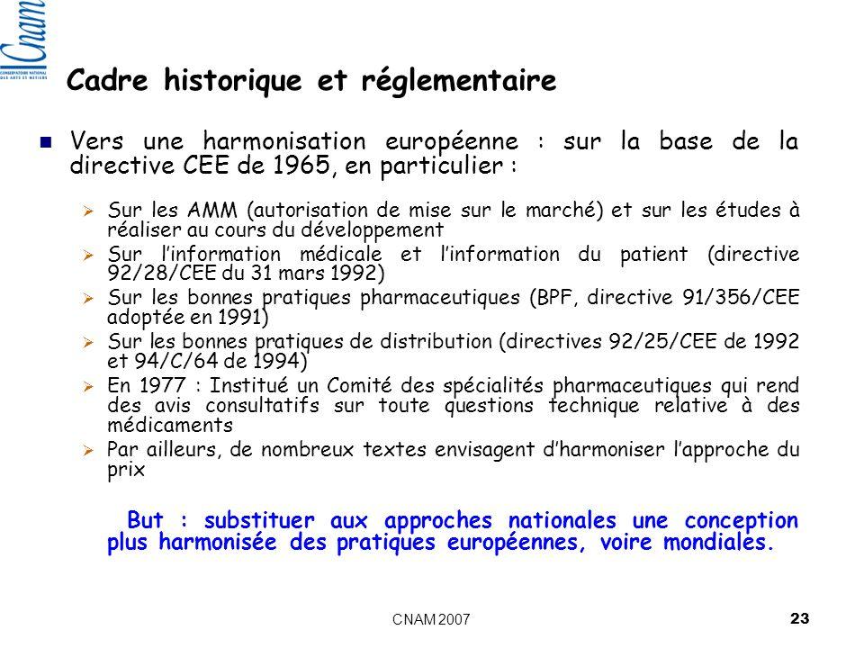 CNAM 2007 23 Cadre historique et réglementaire Vers une harmonisation européenne : sur la base de la directive CEE de 1965, en particulier : Sur les AMM (autorisation de mise sur le marché) et sur les études à réaliser au cours du développement Sur linformation médicale et linformation du patient (directive 92/28/CEE du 31 mars 1992) Sur les bonnes pratiques pharmaceutiques (BPF, directive 91/356/CEE adoptée en 1991) Sur les bonnes pratiques de distribution (directives 92/25/CEE de 1992 et 94/C/64 de 1994) En 1977 : Institué un Comité des spécialités pharmaceutiques qui rend des avis consultatifs sur toute questions technique relative à des médicaments Par ailleurs, de nombreux textes envisagent dharmoniser lapproche du prix But : substituer aux approches nationales une conception plus harmonisée des pratiques européennes, voire mondiales.