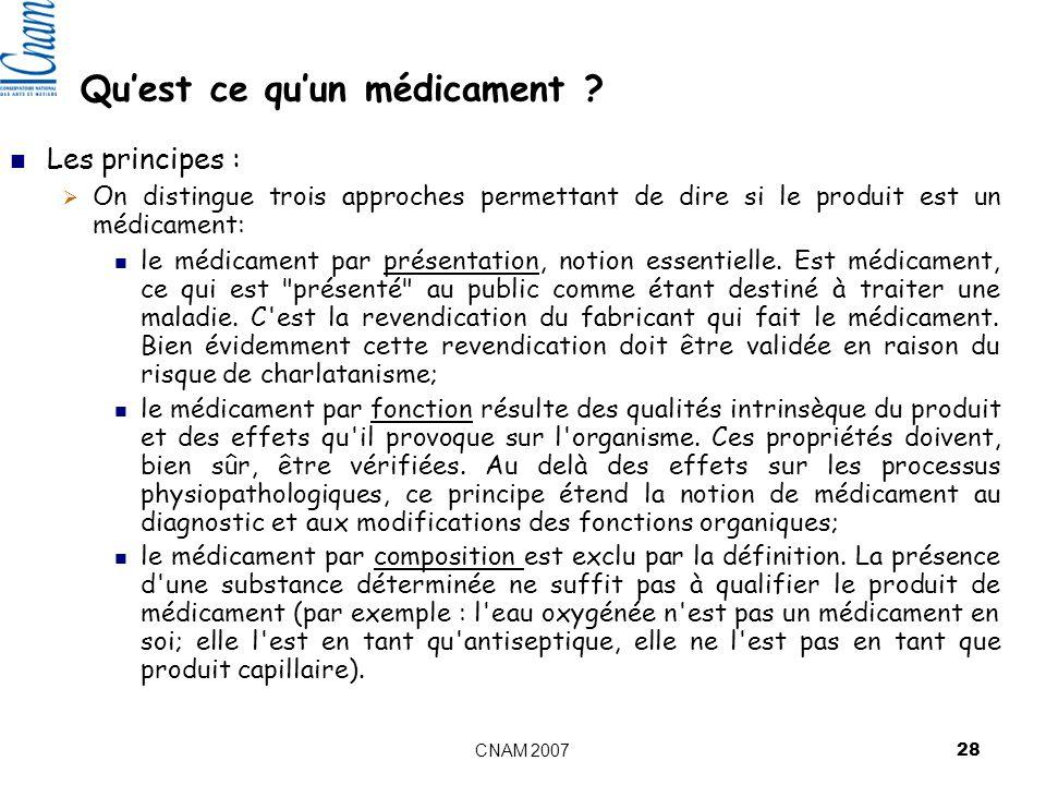 CNAM 2007 28 Quest ce quun médicament .