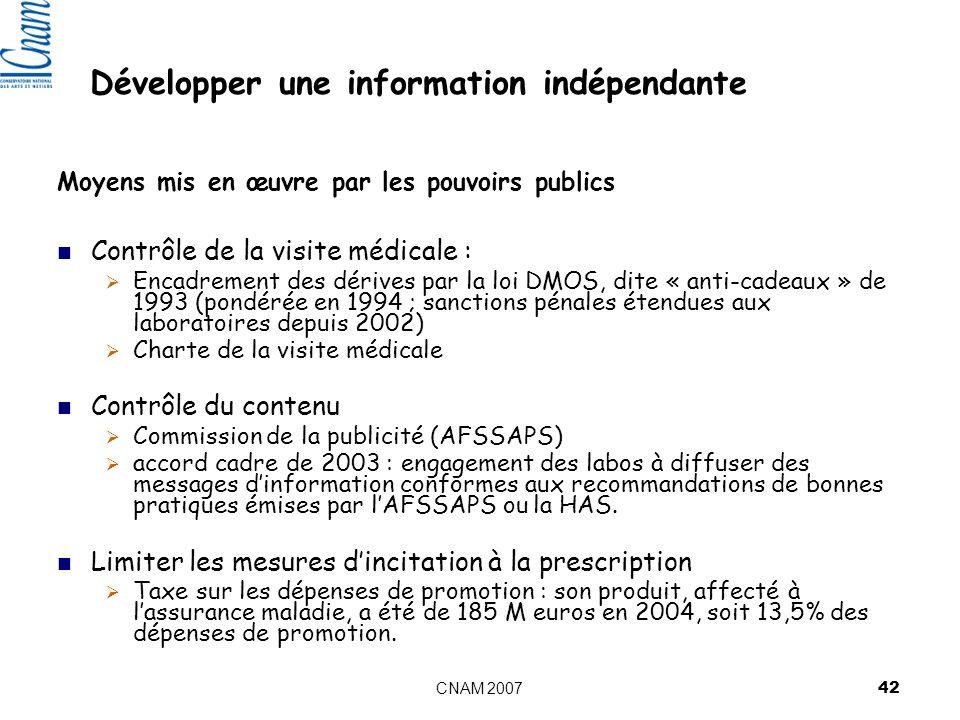 CNAM 2007 42 Moyens mis en œuvre par les pouvoirs publics Contrôle de la visite médicale : Encadrement des dérives par la loi DMOS, dite « anti-cadeaux » de 1993 (pondérée en 1994 ; sanctions pénales étendues aux laboratoires depuis 2002) Charte de la visite médicale Contrôle du contenu Commission de la publicité (AFSSAPS) accord cadre de 2003 : engagement des labos à diffuser des messages dinformation conformes aux recommandations de bonnes pratiques émises par lAFSSAPS ou la HAS.