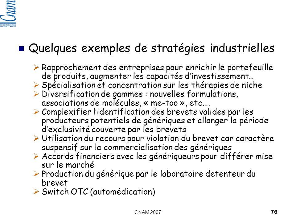 CNAM 2007 76 Quelques exemples de stratégies industrielles Rapprochement des entreprises pour enrichir le portefeuille de produits, augmenter les capacités dinvestissement..