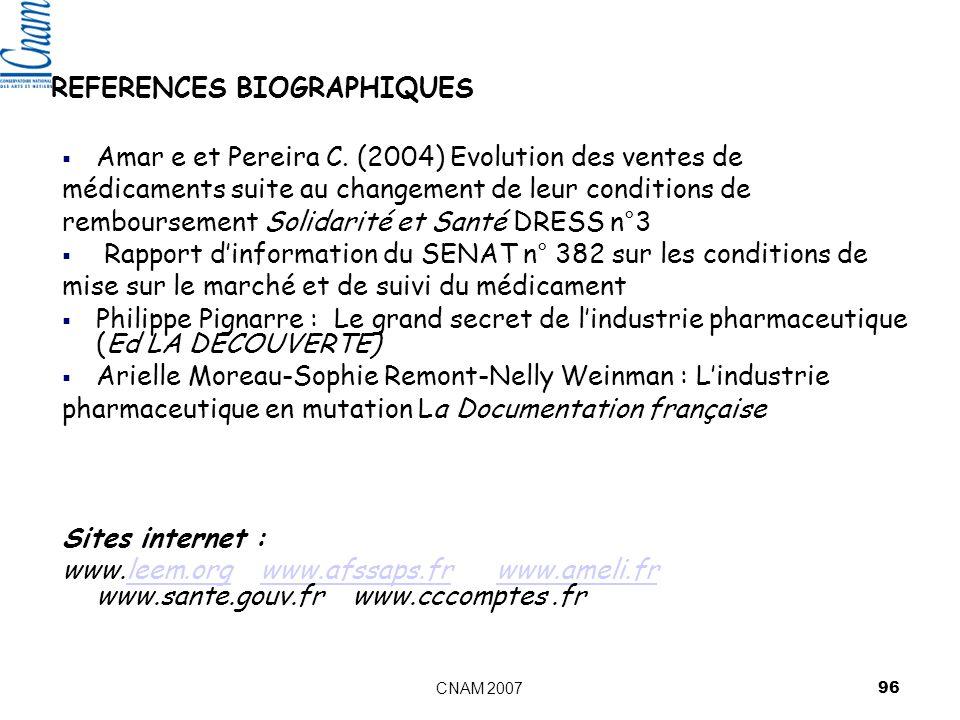 CNAM 2007 96 REFERENCES BIOGRAPHIQUES Amar e et Pereira C.