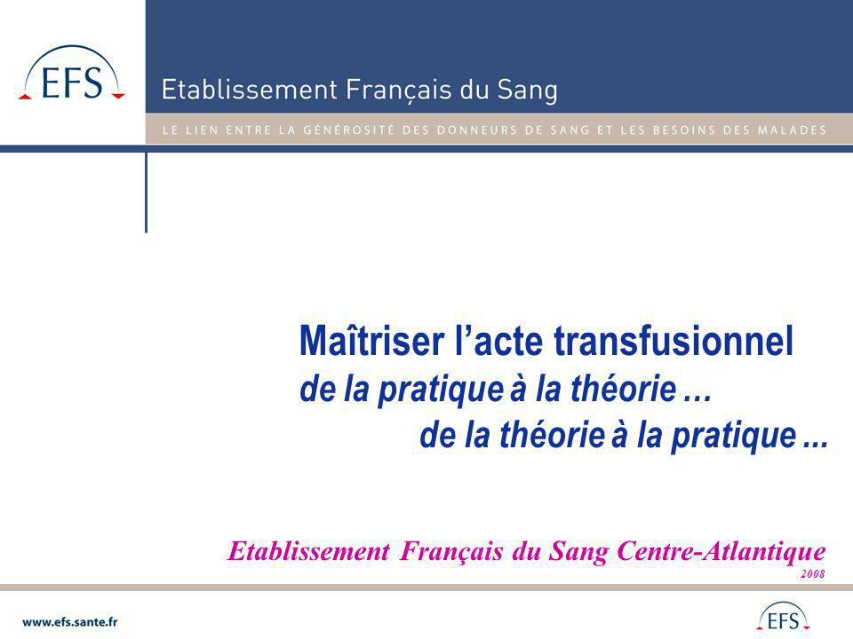 Si on transfuse beaucoup: Si on transfuse beaucoup: Attention à la ROUTINE Si on transfuse peu: Si on transfuse peu: maîtrise-t-on la technique ?.