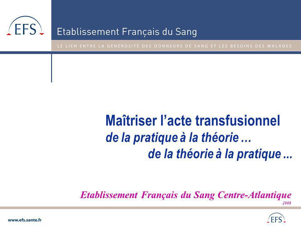 Etablissement Français du Sang Centre-Atlantique 2008 Maîtriser lacte transfusionnel de la pratique à la théorie … de la théorie à la pratique...