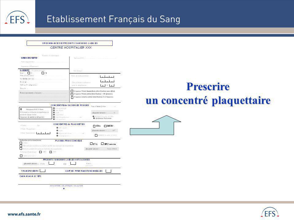 Prescrire un concentré plaquettaire